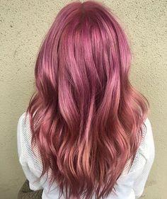Warm pink wavy color melt by Aveda Institute Portland student Ben Cronin.