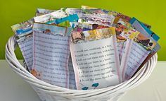 Book Birthday, reading club or baby shower favor bags made out of book pages.  This site has a bunch of cute book-themed ideas!