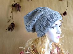 SPRING Handmade Knit Cable Hat Beanie Slouchy Hat by recyclingroom