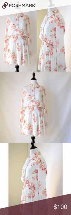 """NWOT L'Academie long sleeve pink flower dress New without tag Self&Lining 100% poly Hand wash cold Partially lined, Elasticized waist, Button cuffed sleeves No care label Size S(Shoulder seam to hem measures approx 32"""" in length) *As the fabric of this dress is pretty delicate, very small vertical runs on the dress. But as you can see in the picture,  they are very hard to see, almost invisible unless you close up on it. However, to make up for this just a little less than perfect condition…"""