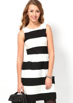 Trending monochrome striped dresses best for office  via @Roposo