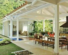 New Covered Pergola Ideas Outdoor Areas Yards Ideas Design Exterior, Covered Pergola, Covered Patios, Outdoor Living, Outdoor Decor, Tropical Houses, Outdoor Areas, My Dream Home, Future House