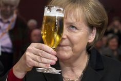 German Chancellor Angela Merkel raised a glass of beer during Political Ash Wednesday meeting of the Christian Democratic Union (CDU) in the northern town of Demmin
