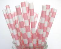Pailles rétro cercle Roses claires > 4,3€ les 25 pailles