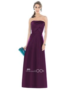 plum strapless long bridesmaid dress with draped bodice with natural waist
