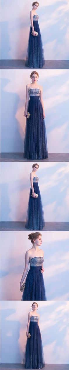 Beautiful Prom Dresses Strapless A-line Sexy Ombre Prom Dress Long Evening Dress P2157