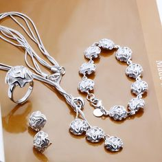 Best-selling wholesale silver jewelry sets necklace earrings bracelets rings roses charm combined free shipping S320