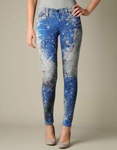 Halle Paint Splatter Jean - (Royal Blue) | True Religion Brand Jeans