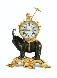 A LOUIS XV GILT-BRONZE AND PATINATED-BRONZE ELEPHANT CLOCK, THE DIAL AND THE MOVEMENT SIGNED ETIENNE LENOIR A PARIS, AFTER A MODEL BY SAINT-GERMAIN, CIRCA 1740
