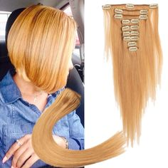 24# Color 9pc/Set Cosplay Party Human Cip In Hair Extension Full Head Hair Weft #WIGISS #HairExtension