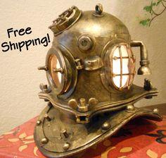 Vintage Scuba Helmet Accent Lamp Night Light