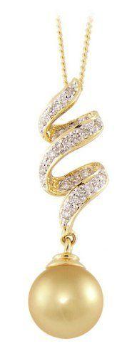 PremiumPearl 11-12mm Golden South Sea Cultured Pearl Pendant AAA Quality 14K Gold & Diamonds Premium Pearl, Inc,