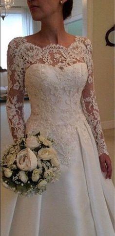 Laço do VINTAGE vestidos de casamento Primavera Vestidos De Noiva Com Mangas Longas Tamanho Personalizado