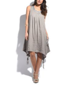 d030655e57 Taupe Linen Pocket Shift Dress  zulilyfinds Taupe