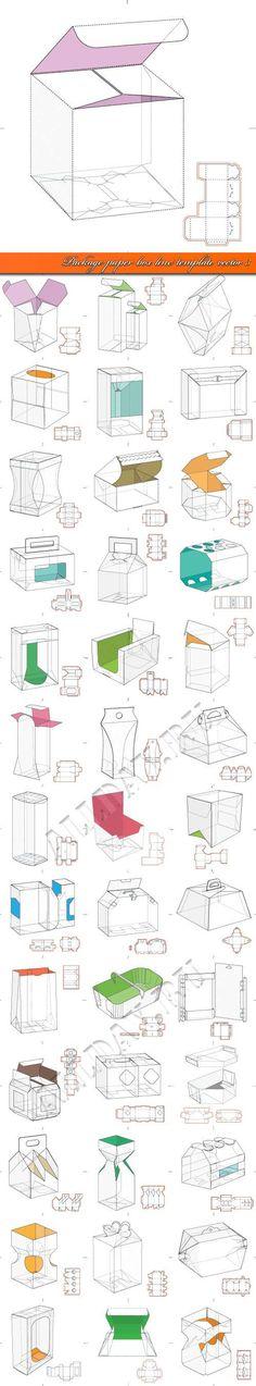 Картонная упаковка выкройка коробка шаблон 3 | Package paper box line template vector 3