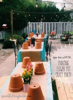 Painting Flower Pot Party Tips - Spoonful of Imagination - Do you want to host a craft night? Or maybe you're looking for a way to connect with other local - Girls Night Crafts, Crafts For Girls, Girls Night In, Ladies Night, Craft Day, Craft Night, Flower Pot Crafts, Flower Pots, Art Party