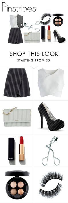 """""""pinstripes"""" by abbpal ❤ liked on Polyvore featuring New Look, Chicwish, DKNY, Chanel, RMK, MAC Cosmetics and jon & anna"""