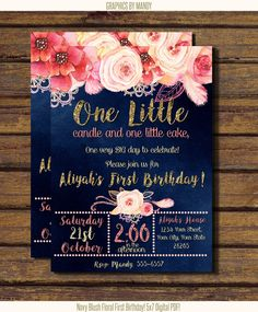 Navy Floral First Birthday! Gold Glitter. Digital, PDF or JPEG image! $8.60