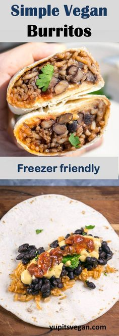 Simple Vegan Burritos: The world's easiest make-and-freeze vegetarian burritos, made with Instant Pot black beans and Mexican rice. Includes freezing and microwave instructions, options for other mix-ins. via Yup, it's Vegan Easy Vegetarian Dinner, Vegetarian Mexican, Vegetarian Recipes Dinner, Delicious Vegan Recipes, Vegan Dinners, Healthy Recipes, Vegan Burrito, Burritos, Vegan Transition
