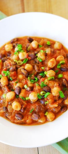 Pumpkin chili with black beans and garbanzo beans. Yummy and healthy: gluten-free, low carb, low fat, vegetarian,. Healthy, full of antioxidants | JuliasAlbum.com | Fall pumpkin recipes, pumpkin soups and stews