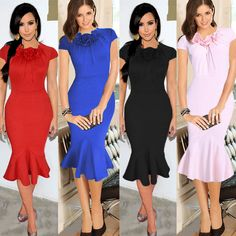 Ladies Bodycon Fishtail Midi Dress Slinky Prom Gown Party Cocktail Celeb Dresses #Ruiyige #Sexy #Formal