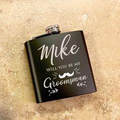Groomsmen Gift Personalized Flask Black Flask Custom Flask 6oz F2 Wood Flask