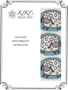 Cute sheep peyote bracelet pattern in wide and by KikisBeadArt