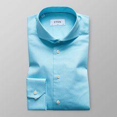 Blåprickig twillskjorta - Slim fit  | Eton Shirts Sverige
