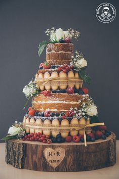 Signature cake by http://www.frenchmade.co.uk #rustic, #nakedcake #naked #cake…