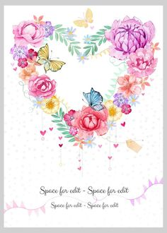 Victoria Nelson - Heart Shape Flower Wreath Butterfly