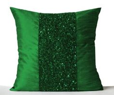 Throw pillow in emerald green and gold color sequin on art silk with sequin bead detail. This elegant decorative pillow is intricately beaded in different shape and size gold sequin and beads to form a royal gold pattern that creates a dazzling statement. Details - Same dupioni art (faux) silk fabric on both sides - Backed by cotton lining - Zip closure - Spot cleaning - Insert not included Measurement - 16x16 inches (40x40 cm) - For another Color message me. For more questions? Message ...
