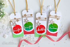 Papertrey Ink Folded Tags die, Wet Paint Holiday Tags stamps and dies &  Star Scribbles stamps and dies