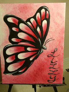 Butterfly acrylic painting for Lizzy's room. Simple Canvas Paintings, Small Canvas Art, Easy Canvas Painting, Mini Canvas Art, Painting Art, Butterfly Acrylic Painting, Butterfly Drawing, Canvas Painting Tutorials, Art Drawings Beautiful