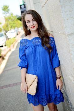Because I Said So | Blue Off the Shoulder Dress