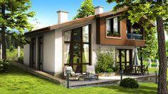 House in Vinitza Modern Tropical House, Tropical House Design, Small House Design, Tropical Houses, House Deck, Loft House, Facade House, 3 Storey House Design, Bungalow House Design