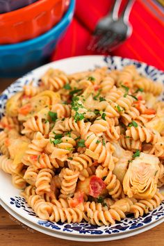 Roasted Garlic and Artichoke Pasta with Adobo Cream Sauce | tablefortwoblog.com