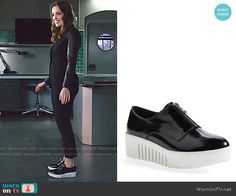 Jemma's red blouse, leather sleeve blazer and platform sneakers on Agents of SHIELD.  Outfit Details: https://wornontv.net/59761/ #AgentsofSHIELD
