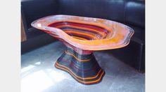 David Adjaye - Acrylic table - Pieza única  fabricada con corte cnc y hojas de acrílico en capas pulidas. #Laser