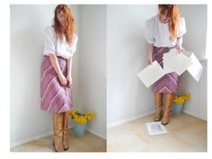 Vintage 60s 70s Skirt with Stripes Red by SuitcaseInBerlin on Etsy