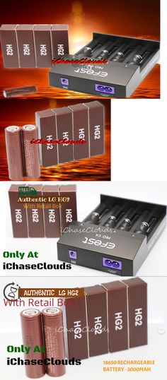 Rechargeable Batteries: 4 Lg (Brown) Hg2 + C4 Charger High Drain 3000Mah 20A