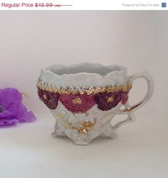 On Sale Antique Teacup Germany Flower by VisualaromasVintage