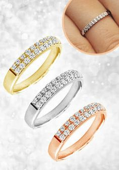 10kt Gold Two-Row Diamond Ring: 10kt Gold Ring with Two Rows of Brilliant-Cut Diamonds