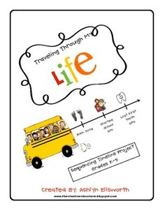 This project is a life events timeline activity where the students create a timeline for them self, a family member, a friend, or a famous person. Kids Timeline, Timeline Project, Create A Timeline, School Projects, Projects For Kids, Crafts For Kids, Letter To Parents, Teaching Social Studies, Teacher Newsletter