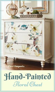 This is a fresh take on traditional style. Antiqued white finish embellished with hand-painted dogwood flowers in full bloom. #ad #shabbychic #organize