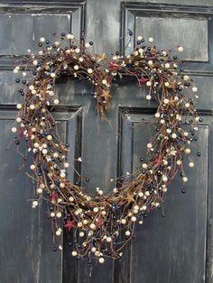 4th of July Wreath  Americana Berry Heart Shape by Designawreath, $59.95