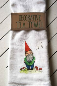 Gnome Tea Towel. $7.00, via Etsy.