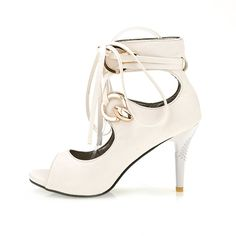 Women's Gladiator Peep Toe High Heel Stilettos Lace-Up Platform Pumps Sandals Shoes >>> You can find out more details at the link of the image.