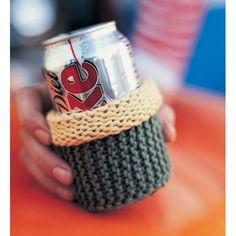 DRINK COZY ~ this is an easy project that works up quickly ~ fits average beverage can ~ FREE KNITTED pattern