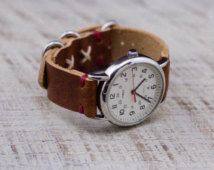 Rustic Leather Watch Strap // Cross Stitched Rustic Detail // Horween Leather Band in Rust Dublin // Polished Loop Hardware