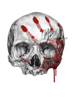 Skull Drawings Skull and blood drawing by Helenhsd on deviantART # Tattoo Crane, Totenkopf Tattoos, Arte Sketchbook, Skulls And Roses, Skull Design, Skull Tattoos, Skull Art, Ram Skull, Alien Vs Predator